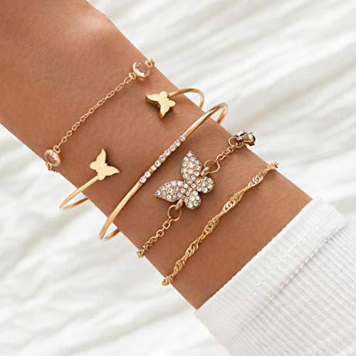 Yean Lot de 5 bracelets boho à plusieurs rangs en fil ouvert avec cristaux dorés et papillon - Chaîne de main réglable - Bijou pour filles et femmes