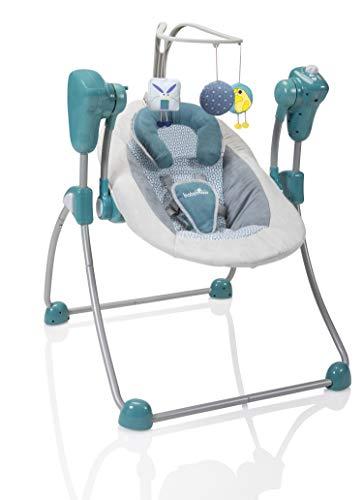 Babymoov Babyschaukel Swoon Bubble Petrol - Schaukel/ Wippe für Babys, 8 Melodien, Rückenlehne in 2 Positionen verstellbar, inkl. Timer