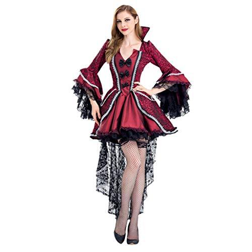 Lomelomme Halloween Damen Cosplay Vampir Hexe Vintage Gothic Kleid Smoking Kleid Spitzenkleid Rückenfrei Langärmliges Kleid Slim Fit Plissee
