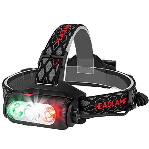 Guiseapue LED Stirnlampe Kopflampe USB Wiederaufladbare COB-Kopflampe mit Hoher Helligkeit LED Kopflampe Perfekt fürs Joggen, Laufen, Gehen, Campen, Lesen, Angeln( 2 * 18650 Batterie eingeschlossen)