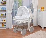 WALDIN Baby Stubenwagen-Set mit Ausstattung,XXL,Bollerwagen,komplett,44 Modelle wählbar,Gestell/Räder grau lackiert,Stoffe weiß