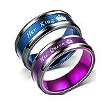 Blowin Juego de 2 anillos a juego para parejas de matrimonio de acero inoxidable con texto en inglés 'Her King and His Queen' Negro