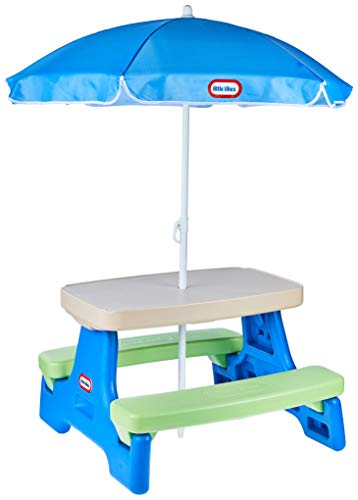 Little Tikes Easy Store Jr. Picnic Table with Umbrella - Blue / Green -  MGA Entertainment, 629945M