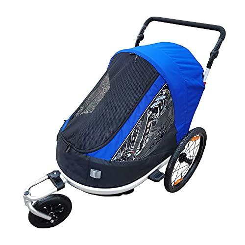 Fahrradanhänger Für Kinder, 2-In-1 Doppelsitzer Kinder Faltbarer Fahrradanhänger Kinderwagen   Abnehmbarer Kinderfahrrad Jogger Mit Lenker