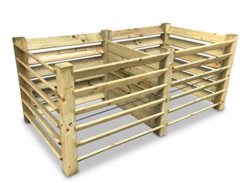GartenDepot24 Compostador doble de madera, 188 x 100 x 80 cm, aprox. 1300 L