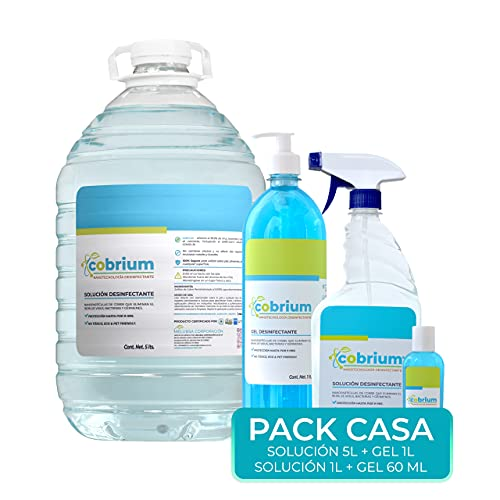 COBRIUM Pack Casa. 1 Solución 5litros, 1 Solución 1litro, 1 Gel 1litro, 1 Gel 60ml. Elimina el 99.99% de todo tipo de microorganismos y virus. Capa protectora hasta por 9 horas. Nanotecnología desinfectante. ENVIO GRATIS.