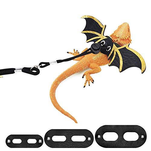 SEALEN Reptile Bearded Dragon Harness Leine, 3 Größe Verstellbare Outdoor Leine aus Leder mit Fledermausflügeln, Reptilienleine für Echsen Reptilien Amphibien Kleine Haustier Tiere