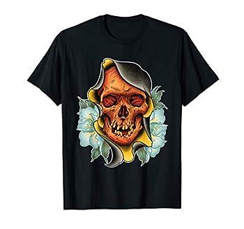 Grim Reaper Traditional Skull Tattoo art illustration T-Shirt