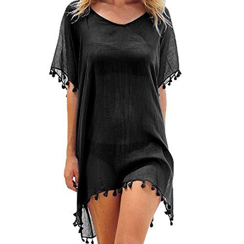 ECOMBOS Damen Strandkleid Bikini Cover Up Strandponcho Sommerkleid Sommer Bademode Strand Pareo (Schwarz)