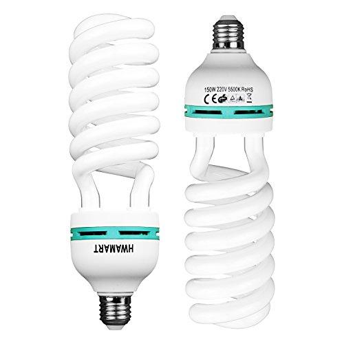 2 x Fotografie Daylight Weiß E27 Beleuchtung Lampen-Birnen-150W 5500K Lampe Beleuchtungsset für Fotostudio Regenschirm Softbox