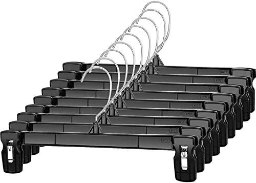 Titan Mall Pants Hangers 30 Pack 12inch Black Plastic Skirt Hanger with Non-Slip Big Clips and 360 Rotatable Hook, Durable and Sturdy Plastic Hanger,...