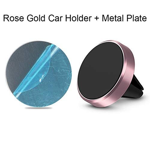 Byrhgood Soporte for teléfono magnética de Coches Accesorios Mini Salida de Aire Pinza magnética Soporte for Xiaomi Nota 8 Huawei Samsung En GPS del Coche (Color : Rose Gold)