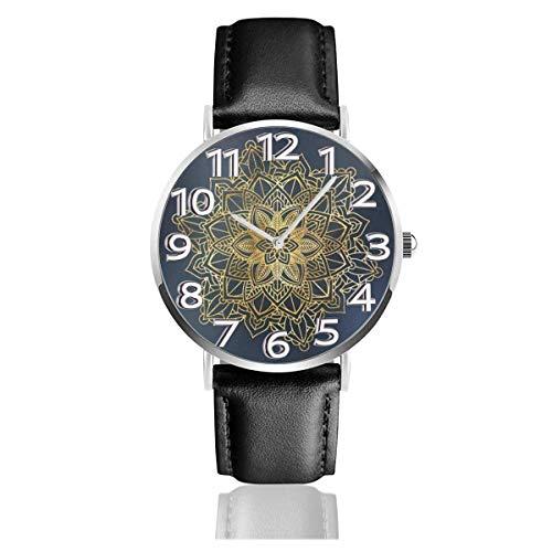 Indian Bohimian Hippie Boho Reloj de Cuero Azul Relojes de Pulsera de Moda Unisex Reloj Resistente a los arañazos Relojes de Desgaste Duradero