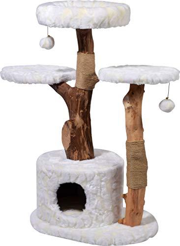 """Design-Kratzbaum """"Frosty"""" mit Naturstämmen und Spielball, Katzenmöbel mit Katzenhöhle und drei Liegeflächen, 60 x 45 x 110 cm, weiß"""