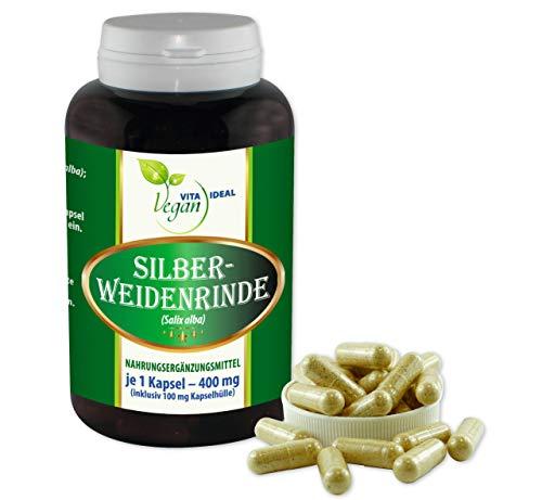 VITAIDEAL VEGAN® Silber - Weidenrinde (Salix alba) 180 Kapseln je 400mg, rein natürlich ohne Zusatzstoffe.
