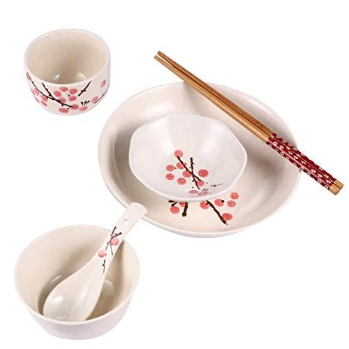 Hemoton Juego de Vajilla de Cerámica de 6 Piezas Vajilla de Flores Vajilla de Cerámica Japonesa para Servicio de Cocina en El Hogar Una Persona (Rojo)