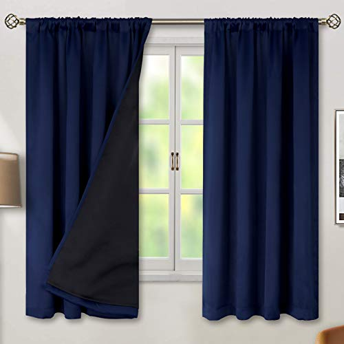 BGment Thermal Insulated 100% Blackout Curtains for Bedroom with Black Liner, Double Layer Full Room Darkening Noise Reducing Rod Pocket Curtain (52 x 63 Inch, Navy Blue, 2 Panels)