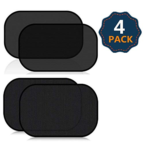 EcoNour Car Window Sun Shade XL (2 Pack Transparent+ 2 Pack Semi Transparent) | Car Sun Protector with 80 GSM and 15s Film Blocks Sun, Glare and UV Rays | Baby Side Window Sunshades (25' x 16')