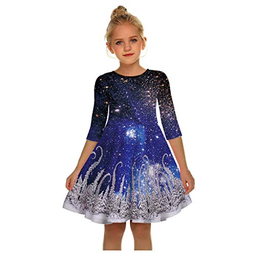 Teen Kinder Mädchen Langarm Weihnachten Kleid 3D Print Cartoon Xmas Kleid Kleidung Casual Mode T-Shirt Kleid O-Ausschnitt Lose Party Prinzessin Kleid Lange Hülsen Tuniken
