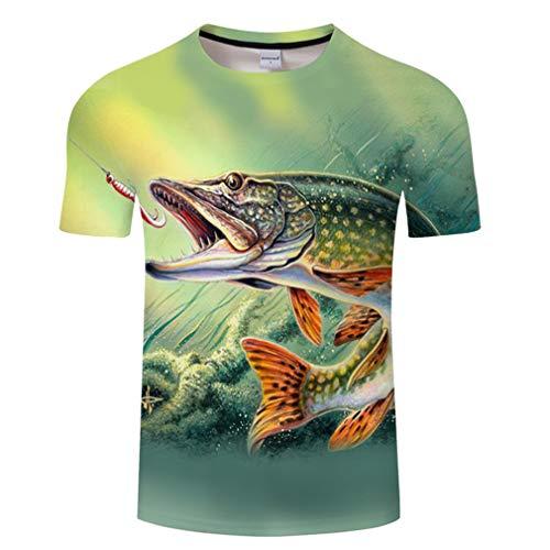 Camiseta de manga corta para hombre y mujer, impresión en 3D, diseño de peces divertido, tallas S-6Xl beige M