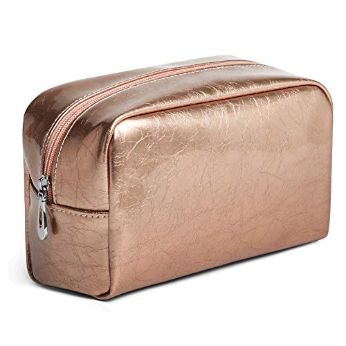 Makeup Bag, PU Leather Cosmetic Bag Clutch Make-up Pouch Waterproof Toiletries Bag for Travel Bathroom Storage, Pencil Case Stationary Organizer, Rose Gold