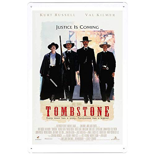 Movie Tin Signs - Tombstone Poster - Vintage Style Bar Pub Garage Hotel Diner Cafe Home Iron Mesh Fence Farm Supermarket Mall Forest Garden Door Wall Decor 8 X 12 Inch