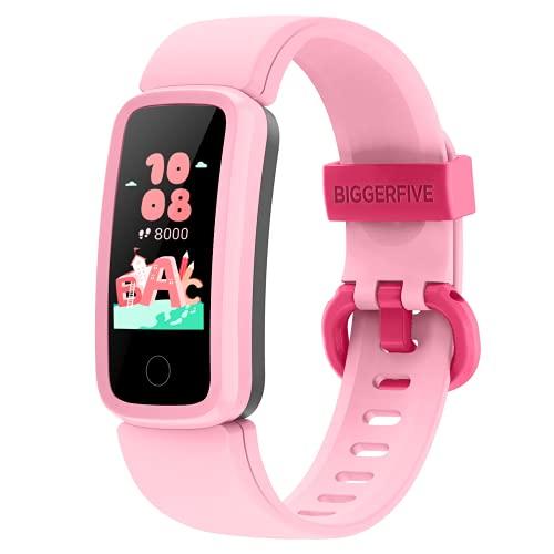 BIGGERFIVE Fitness Armband Uhr für Kinder Mädchen Junge Teenager, Fitness Tracker Smartwatch mit Schrittzähler Pulsuhr Kalorienzähler und Schlafmonitor, IP68 Wasserdicht Aktivitätstracker (Rosa)