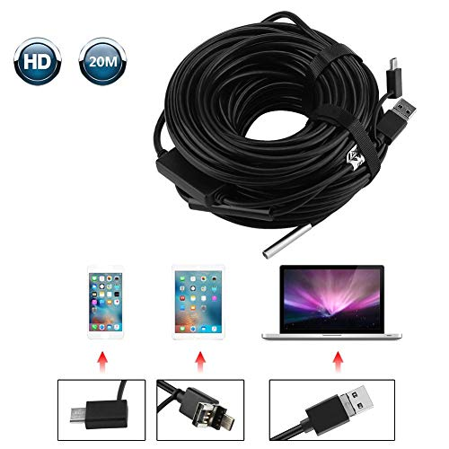 3 in 1 Inspektionskamer, 20 Meter 5,5 mm USB/Micro-USB/Typ-C-Endoskop mit 720P wasserdichter Kamera für Pipe Car Inspection