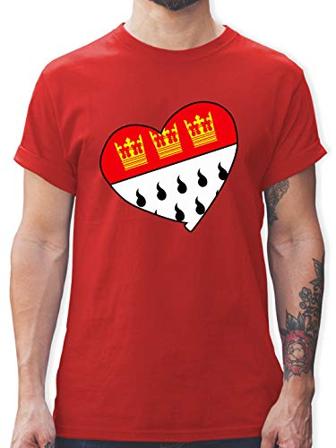 Karneval & Fasching - Köln Wappen Herz - XXL - Rot - Karneval köln Wappen - L190 - Tshirt Herren und Männer T-Shirts