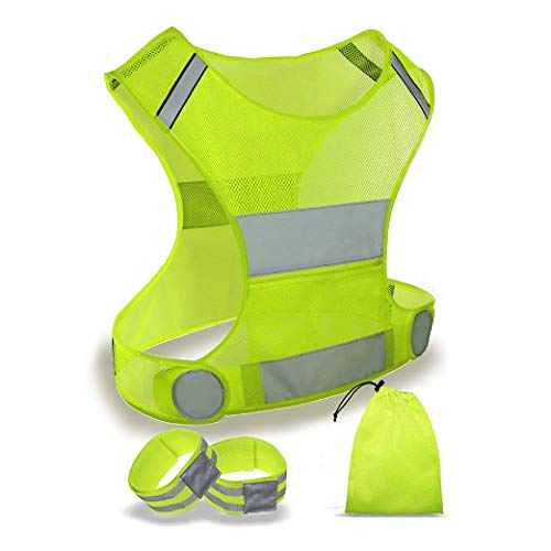 ACTIVATE High Visibility Vest for Running Cycling Bike Walking FREE ArmLeg Bands Carry Bag For Men Women Inner Zip Pocket Fully Adjustable High Vis Be Seen Stay Safe