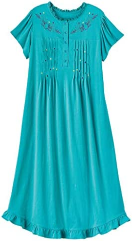AmeriMark Women s Embroidered Knit Night Gown Long Partial Button Front Dress Ceramic 4X product image