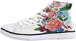Flower Decor Comfortable High Top Canvas ShoesLeaves Flowers Old Vintage Ivy Design with Plants Nature Theme Art Print for Women Girls,US 5