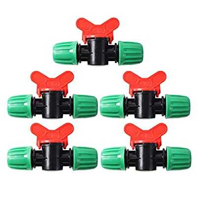 """FULAIERGD 5 Pcs Drip Irrigation Switch Valve For 1/2 Inch Drip Tubing(1/2"""" ID x 0.65"""" OD) Barbed Locking Fitting Gate Valves by FULAIERGD"""
