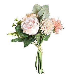 JENPECH Artificial Flower 1Bouquet Rose Silk Fake Outdoor UV Resistant Plants – Farmhouse Shrubs for Hanging Planter Garden Cemetery Grave Kitchen Decor Pink