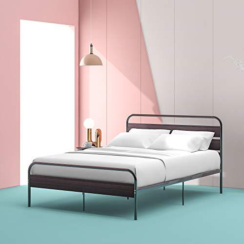 Cadre de lit Cadre De Lit Simple en Métal Noir avec Tête De Lit en Bois Base De Lit Solide pour Adultes Enfants Adolescents, 140 X 200 Cm