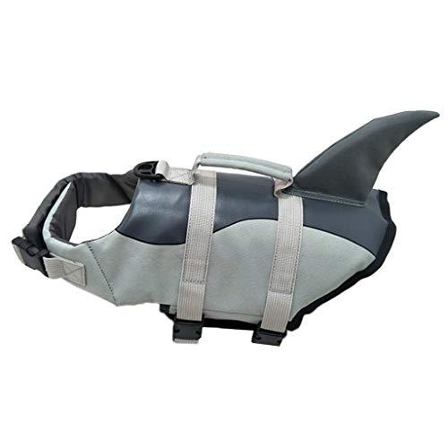 MagiDeal Chaleco Salvavidas de poliéster para Perros, Chaleco Salvavidas de flotación para Mascotas con Mango de Rescate, Chaleco de baño Salvavidas Ajustable - Silver_L