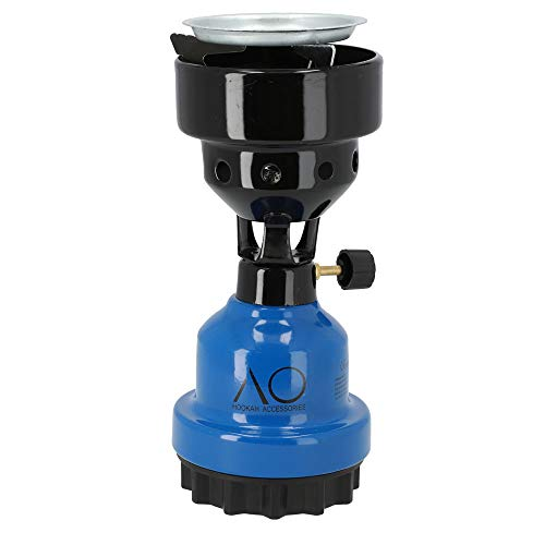 AO® Shisha Gaskocher Kohleanzünder | Gasbrenner für Naturkohle mit Gitter (Blau)