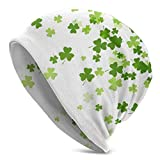 Sherly Yard Bonnet Beanie Classique plissé,Trèfle Vert de la Saint-Patrick,Bonnet Beanie Long,Unisexe