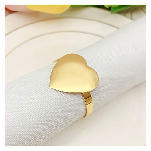 QTKJ Set of 6 Gold Napkin Ring Metal Love Heart Napkin Buckle for Wedding, Holidays, Valentine's Day, Dinner Party, Banquet Decor Gifts (Gold, Heart)