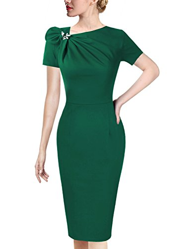 VFSHOW Womens Pleated Asymmetric Bow Neck Work Cocktail Party Sheath Dress 458 GRN S