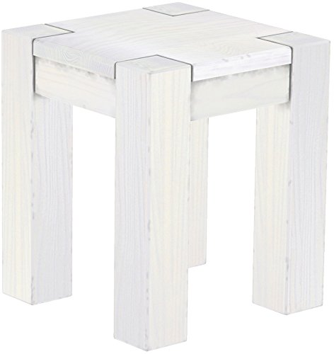 Brasilmöbel Hocker Rio Kanto Pinie Weiss Pinie Massivholz Esszimmerbank Küchenbank Holzbank - Größe und Farbe wählbar