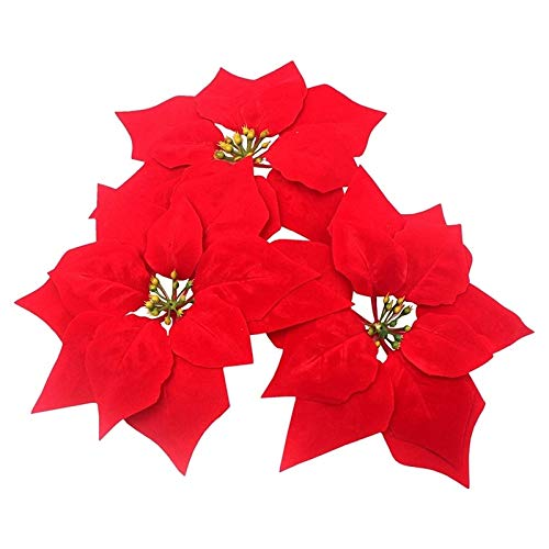 XIAOQIU Artificial Flowers Artificial Christmas Flowers Red Velvet Poinsettia Floral Picks for Christmas Wreath Tree Ornaments(24 Pcs/Red) Fake Flowers (Color : Red)