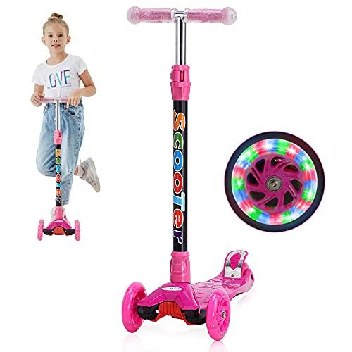 Yuanj Roller Kinder Scooter, Dreiradscooter mit PU Räder, Einstellbaren Höhe, Graffiti Kinderscooter für Jungen und Mädchen 3-12 Jahre alt - Rosa