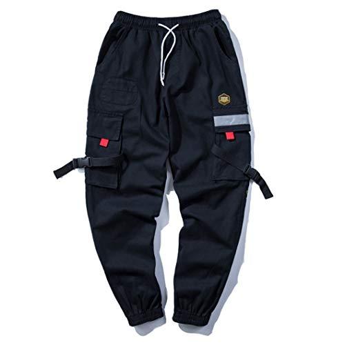 Pantalones para Hombre De Hip Hop Streetwear Hebillas Pie EláStico Multi Bolsillo...