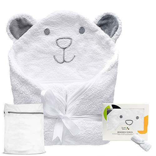 Jumpy Moo's Bio Baby Badetuch | 100% Bambus, Bonus Babywaschlappen & Wäschesack | Neugeborene, Säuglinge & Kleinkinder (Boo Bär)