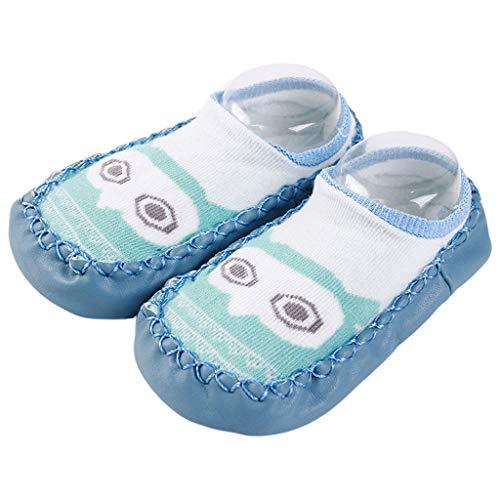 Lunji Chausson Cuir Bebe Garcon Fille, Joli Chaussettes Antidérapantes Bébé Souple (L -18-24 mois, Bleu 2)