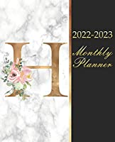 """2022-2023 Monthly Planner """"H"""": 2 year Calendar with Initial Gold And Floral Monogram Letter, Black & White Marble 24 Month Schedule Organizer,Journal & Personal Appointment,Goals,Self Care,Passwords,Contacts Log  Gift Idea for New Year,Christmas,Birthday"""