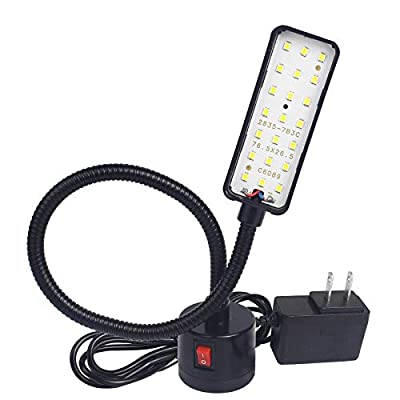 Led Magnetic Work Light 21 LEDs 300mm Flexible Gooseneck lamp 500 Lumens 120 Volt for Sewing Machine Lathe Milling Drill Press Industrial Lighting