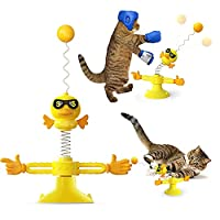 🐱【Attractive Appearance】This interactive windmill cat toy is made of food-grade ABS material, non-toxic, abrasion-resistant and durable. The appearance of this cat toy is the bright yellow smiling face of a doll, which can attract the cat's interest....