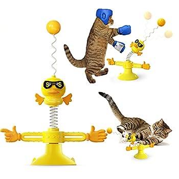 Jouet interactif pour Chat Windmill, Jouet à Plumes pour Chats, bâton de Plume taquin, Jouets Amusants pour Chatons, Balle de Plume pour Chats, Berceau,Moulin à Vent Jouets pour Chat Baguette